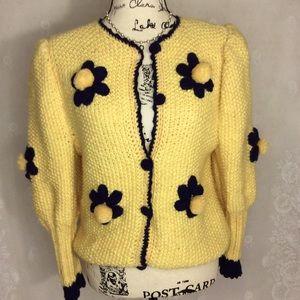 Unique Handmade Yellow Navy Daisy Pom Pom Cardigan